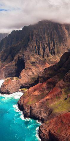 Rocky coast, mountains, sea, nature, 1080x2160 wallpaper