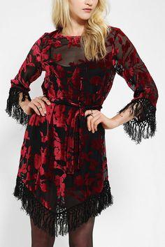 For Love & Lemons Near Dark Velvet Fringe Dress. {I need this.}