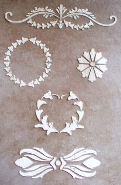 We created these beautiful Raised Plaster Stencil elements specifically for cabinetry and furniture. Now, add raised designs right to your old