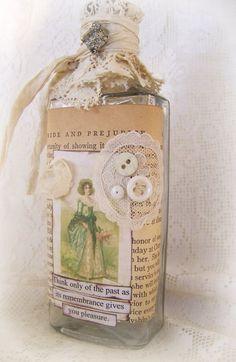 Vintage Romance Jane Austen Arte antiguo Alterado Botella