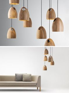 15 Wood Pendant Lights That Add A Natural Touch To Your Decor // These oak pendant lights that come in a number of finishes have a hole in the top of them to allow for multiple ways of hanging.