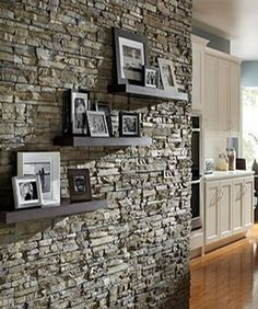another stone wall w/ wood shelves