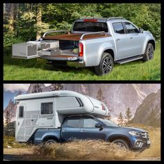 Which of the Mercedes X Class concepts would you choose? The demountable cab from German manufacturer, Tischer or the pull-out conversion also by a German maker, VanEssa Mobilcamping. House On Wheels, Camper Van, Nice View, Recreational Vehicles, Jelly, German, Vans, Boat, Camping