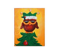 ELF OWL, 8x10 Christmas Art, Whimsical Wall Art for Holiday Decor