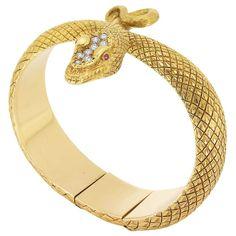 Gold and Diamond Snake Bangle Bracelet