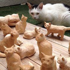 えっ‼なに?なに? Whittling Projects, Whittling Wood, Wood Carving Designs, Wood Carving Patterns, Wood Craft Patterns, Wood Cat, Wood Creations, Wooden Art, Sculpture