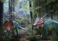 Styracosaurus albertensis  Art by akeiron  Styracosaurus from the Cretaceous Period, 75.5 to 75 million years ago.
