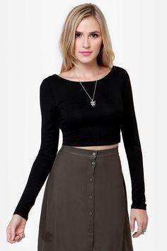 Cool Black Top - Crop Top - Backless Top - Long Sleeve Top - $28.50