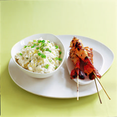 Lemon risotto with griddled prawns