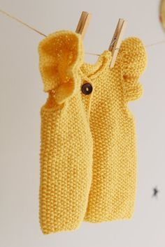 Knit Baby Girl Vest Baby Girl Yellow Waistcoat with por LalaKa