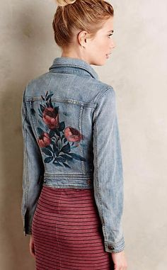 Anthropologie - Pilcro Rosegarden Denim Jacket Light Denim Xxs Jackets