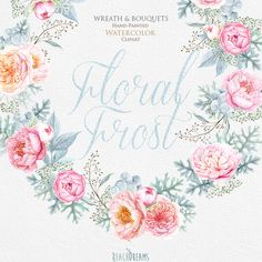 Peonies & Roses Wedding Watercolor Wreath and by ReachDreams