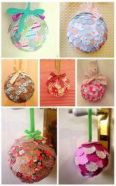 Bolas de navidad con recortes de papel. Ideal para hacer con niños!  Brolapin - El blog de las ilustraciones, fotografías, labores y las manualidades