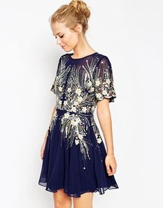 S T Y L E: ASOS Gold And Navy Sparkle Mesh Skater Dress at as...