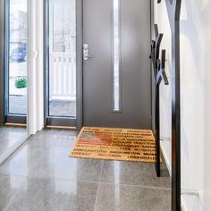Tiled Hallway, Tile Floor, Charcoal, Tiles, Flooring, Doors, Interior Design, Modern, House