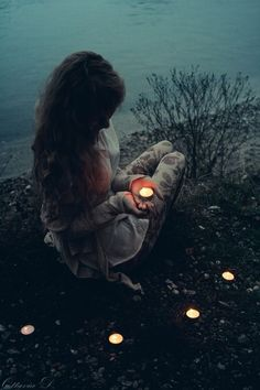 photography girl beautiful nature Witch candles witchcraft wiccan pagan wicca aesthetic witchy