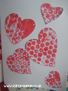 Valentines Craft - Bubble Wrap Printed Hearts Card