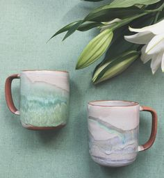 Calyer Ceramics on Etsy  Beautiful ceramic mugs on etsy. Home accessories for a fresh bright scheme