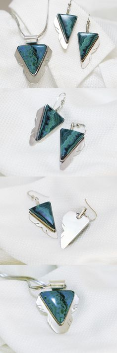Sets 34071: Sterling Silver And Rare Arizona Gemstone Earrings And Necklace Pendant Set -> BUY IT NOW ONLY: $145 on eBay!