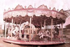 "Paris Carousel Photography - Dreamy Paris Pink Carnival Carousel, Baby Nursery Room Prints, Fine Art Paris Photograph 8"" x 12"""