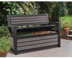 Keter 60 Gallon Storage Bench and Tool Box Organizer for Outdoor Garden Decor Ivory Deck and Patio Furniture