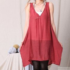 pink casual women tank dress sleeveless summer shirt loose sundress