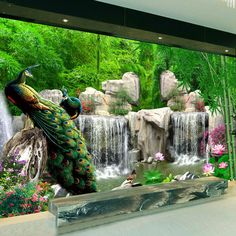 3D Wall Mural Natural Scenery Wallpaper Landscape Bamboo Forest Falls Peacock Bedding Room 3D Non-woven Wall Paper TV Background(China (Mainland))