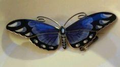 Silver Enamel Butterfly Brooch - Mauris Hammer Norway