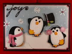 Penguine card with your cricut: Dots on Roses: February 2009 Christmas Art, Winter Christmas, Winter Cards, Holiday Cards, Punch Art Cards, Cricut Cards, Cool Cards, Kids Cards, Scrapbook Cards