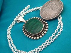 Mexican Pendant Sterling Silver 925 Taxco Large Signed TS-134 Malachite Big 19 Grams