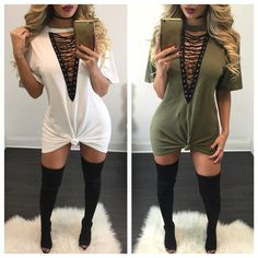 $27.99 Lace Up Half Sleeves Tee Dress Fashion Line, Love Fashion, Autumn Fashion, Fashion Outfits, Female Fashion, Diy Fashion, Fashion Design, Cute Dresses, Cute Outfits