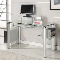 Small Clear Office Desk