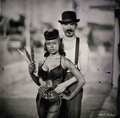 Donny and Heather, side show performers at Coney Island. Photo by Bill Steber. Sideshow Freaks, Knife Throwing, Edinburgh Fringe Festival, Dark Circus, Human Oddities, Circus Performers, Photo Libre, Night Circus, Big Top