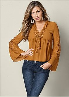 Order a sexy Crochet Bell Sleeve Top from VENUS. Shop short sleeve tops, tanks, tees, blouses and more at an affordable price today! Boho Fashion, Girl Fashion, Fashion Dresses, Stylish Dresses, Casual Dresses, Pretty Outfits, Cool Outfits, Western Outfits Women, Estilo Hippie