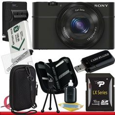 Sony Cyber-shot DSC-RX100 Digital Camera (Black) 16GB Package 2 by Sony. $650.58. Package Contents:  1- Sony Cyber-shot DSC-RX100 Digital Camera (Black) w/ All Supplied Accessories 1- 16GB SDHC Class 10 Memory Card  1- Rapid External Ac/Dc Charger Kit 1- USB Memory Card Reader  1- Rechargeable Lithium Ion Replacement Battery  1- Weather Resistant Carrying Case w/Strap  1- Pack of LCD Screen Protectors  1- Camera & Lens Cleaning Kit System  1- Mini Flexible Table Top...