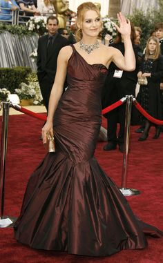 Keira Knightley from 2015 Oscar Nominees' Past Looks  The expecting star wore this unforgettable Vera Wang number at her first (and only, so far) Oscar appearance.