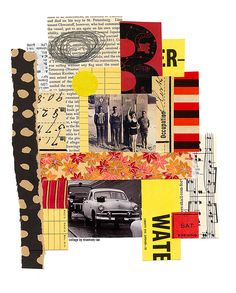 my day 179 collage {saturday night} :: cut + scrap papers, vintage photos + text; glued.