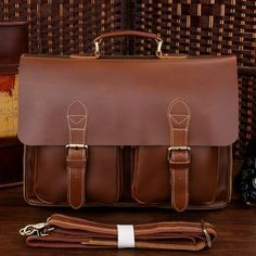 Handmade Superior Leather Briefcase / Leather Messenger Bag -- with a 13 15 MacBook / 14 15 Laptop Sleeve  This handmade leather bag is made with selected materials. The properties of superior cowhide and vintage design make this item unique.  All hand stitched, works excellent. A truly one of a