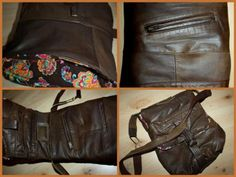 Ledertasche aus altem Mantel / Leather bag made from old coat Upcycling