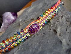 Hemp Bracelet - Rainbow Hemp Color Change Mood Bead Bracelet or Anklet - Hemp Jewelry. $12.00, via Etsy.