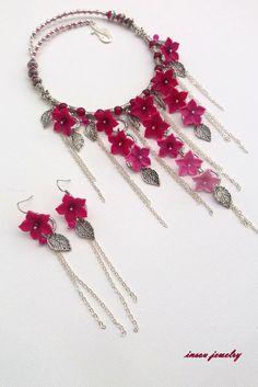 Ombre fuschia jewelry  Polymer jewelry  Light pink by insoujewelry