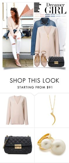 """""""dreamer girl"""" by lisamichele-cdxci ❤ liked on Polyvore featuring IRO, Tory Burch, Kenneth Jay Lane, Valentino, LoveIt, BloggerStyle and FashionHippieLoves"""