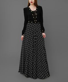 Look what I found on #zulily! Black Plaid Lace-Panel Maxi Dress #zulilyfinds
