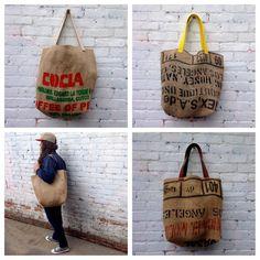 Coffee Bean Sack Farmers Market Grocery Tote Bag / Coffee Sack Tote / Upcycled Market Bag / Recycled Grocery Tote / farmers market bag