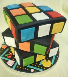 Rubiks cube cake for an 80's birthday party
