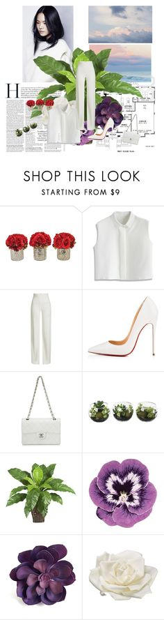 """""""Fresh: White"""" by criiss-prdd on Polyvore featuring The French Bee, Chicwish, Brandon Maxwell, Christian Louboutin, Chanel, Nearly Natural, Nourison and Allstate Floral"""