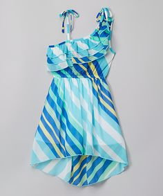 Look at this Teal Striped Island Dress  - Toddler & Girls on #zulily today!