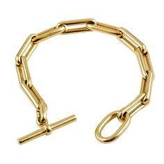 HERMES Gold Toggle Bracelet | From a unique collection of vintage link bracelets at http://www.1stdibs.com/jewelry/bracelets/link-bracelets/