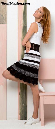 Lang Yarns, Coton Bio, Catalogue, Free Pattern, Knit Crochet, High Waisted Skirt, Glamour, Couture, Elegant