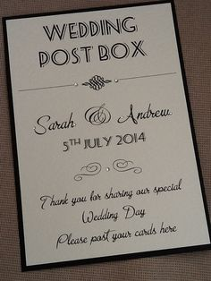 Wedding Post Box Sign - Handmade Personalised on Etsy, £3.75